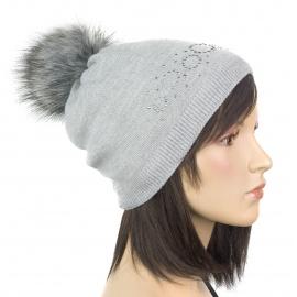 Elegancka damska czapka zimowa Ola z pomponem z futerka - popielata szara