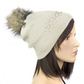 Elegancka damska czapka zimowa Ola z pomponem z futerka - beżowa