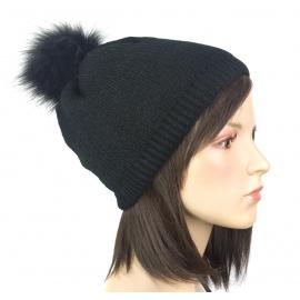 Damska czapka zimowa krasnal z pomponem z futerka: czarny