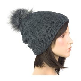 Dwuwarstwowa damska czapka zimowa Zora z pomponem z futerka - grafitowa szara