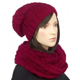 Komplet - damska czapka zimowa i szalik komin : bordowy