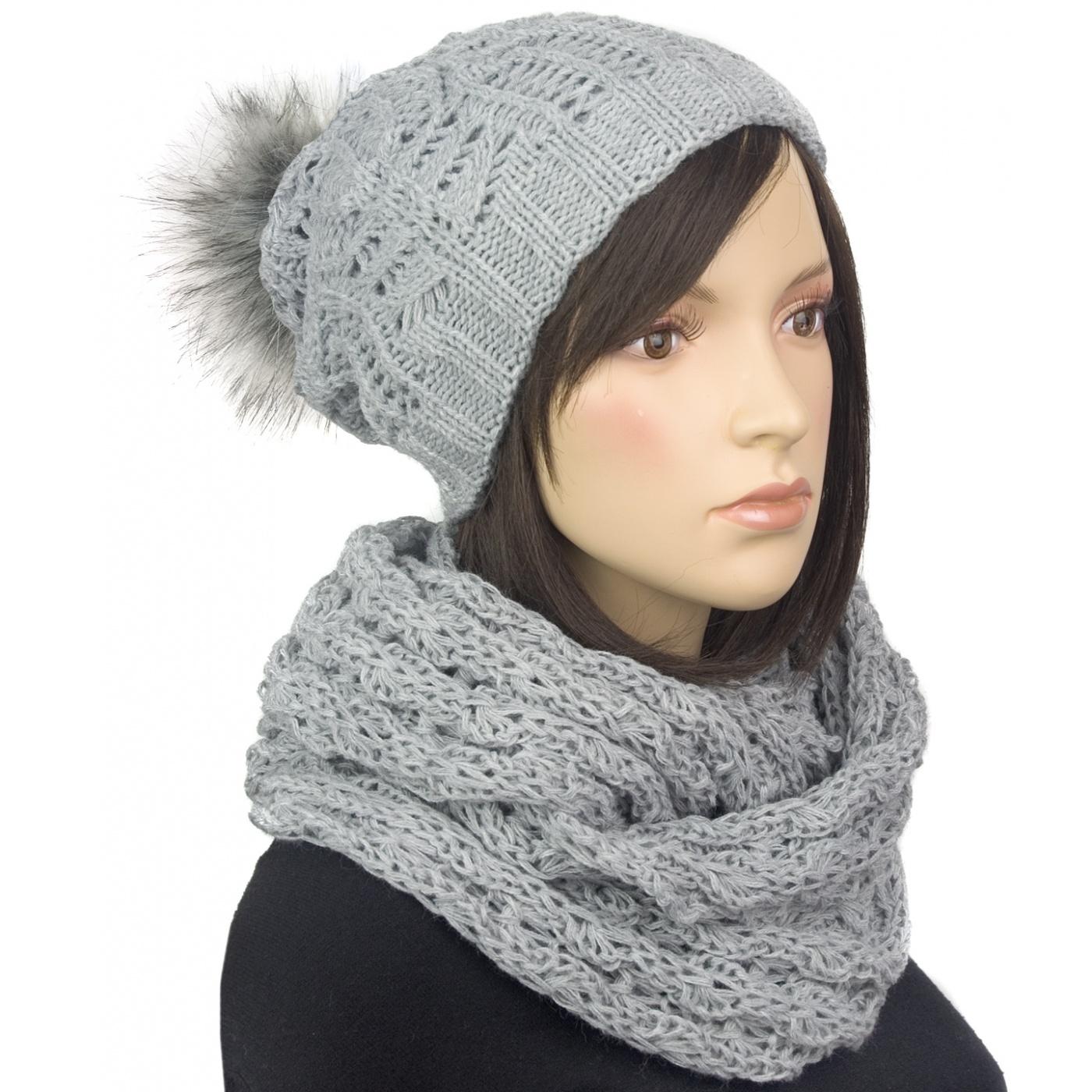 Komplet damska czapka zimowa z pomponem i szalik komin : popielaty