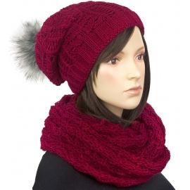 Komplet - damska czapka zimowa z pomponem i szal komin : bordowy