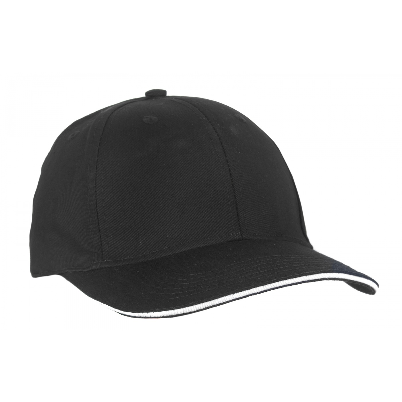 Czapka z daszkiem bejsbolówka – czarna z białym paskiem w daszku