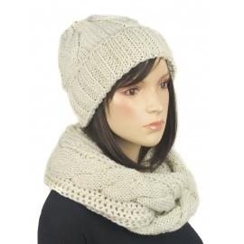 Komplet zimowy Lisa czapka damska i szalik komin w warkocze - jasny beżowy