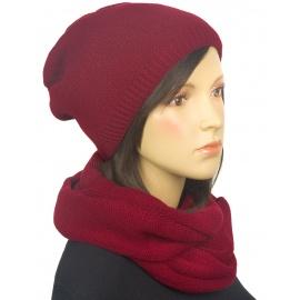 Komplet Kaja czapka zimowa damska i szalik komin - bordowy