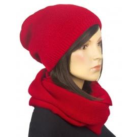 Komplet zimowy damski czapka i szalik komin - czerwony