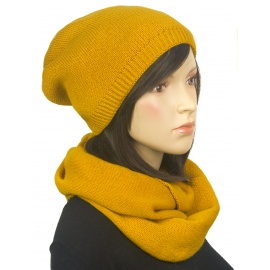Komplet zimowy damski czapka i szalik komin - żółty musztardowy