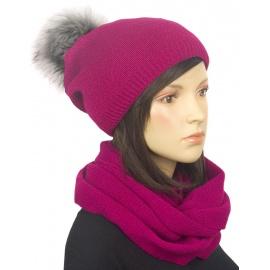 Komplet zimowy damski czapka z pomponem i szalik komin - amarantowy różowy