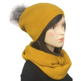 Komplet zimowy damski czapka z pomponem i szalik komin - musztardowy żółty