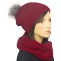 Komplet zimowy damski czapka z pomponem i szalik komin - bordowy