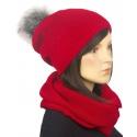 Komplet zimowy damski czapka z pomponem i szalik komin - czerwony
