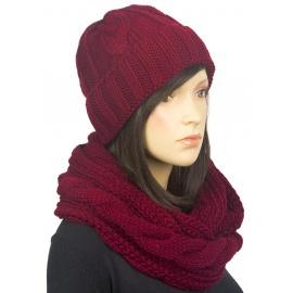 Komplet zimowy Lisa czapka damska i szalik komin w warkocze - bordowy