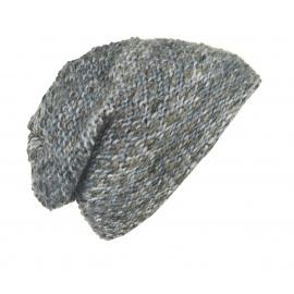 Kolorowa damska czapka zimowa Molly - szarości i niebieski