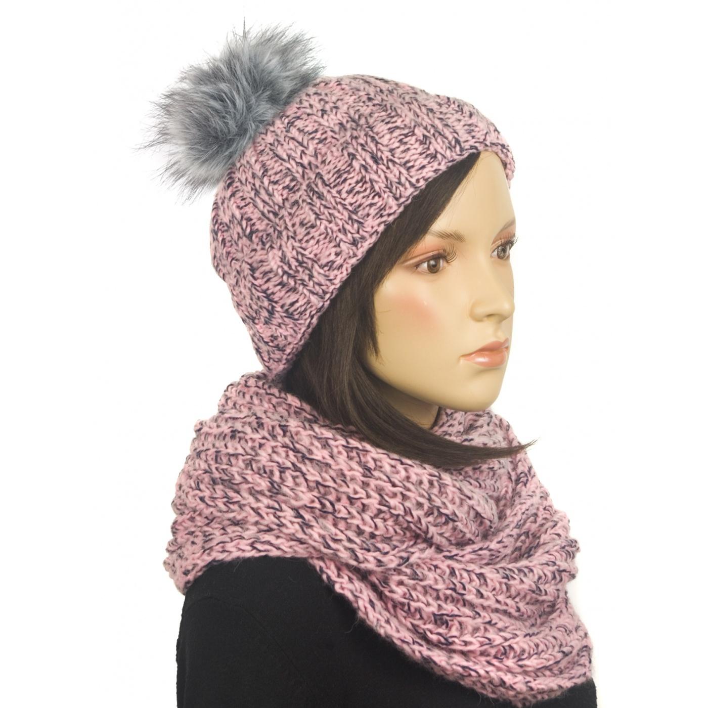 Komplet zimowy damski czapka z wywinięciem i szalik komin - różowo-czarny