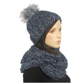 Komplet zimowy damski czapka z wywinięciem i szalik komin - granatowo-popielaty