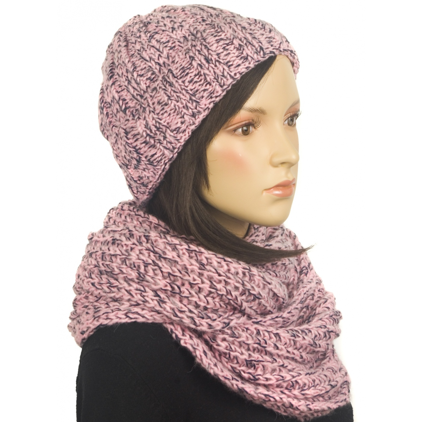 Komplet damski czapka i szalik komin - czarno-różowy