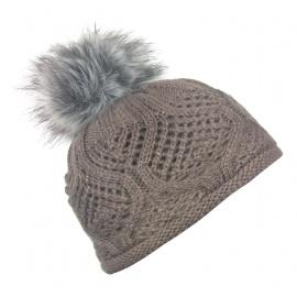 Damska czapka zimowa z pomponem - cappuccino