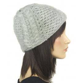 Damska czapka zimowa z niteczką - popielata szara