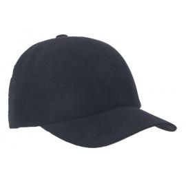 Męska zimowa sztruksowa czapka z daszkiem - granatowa