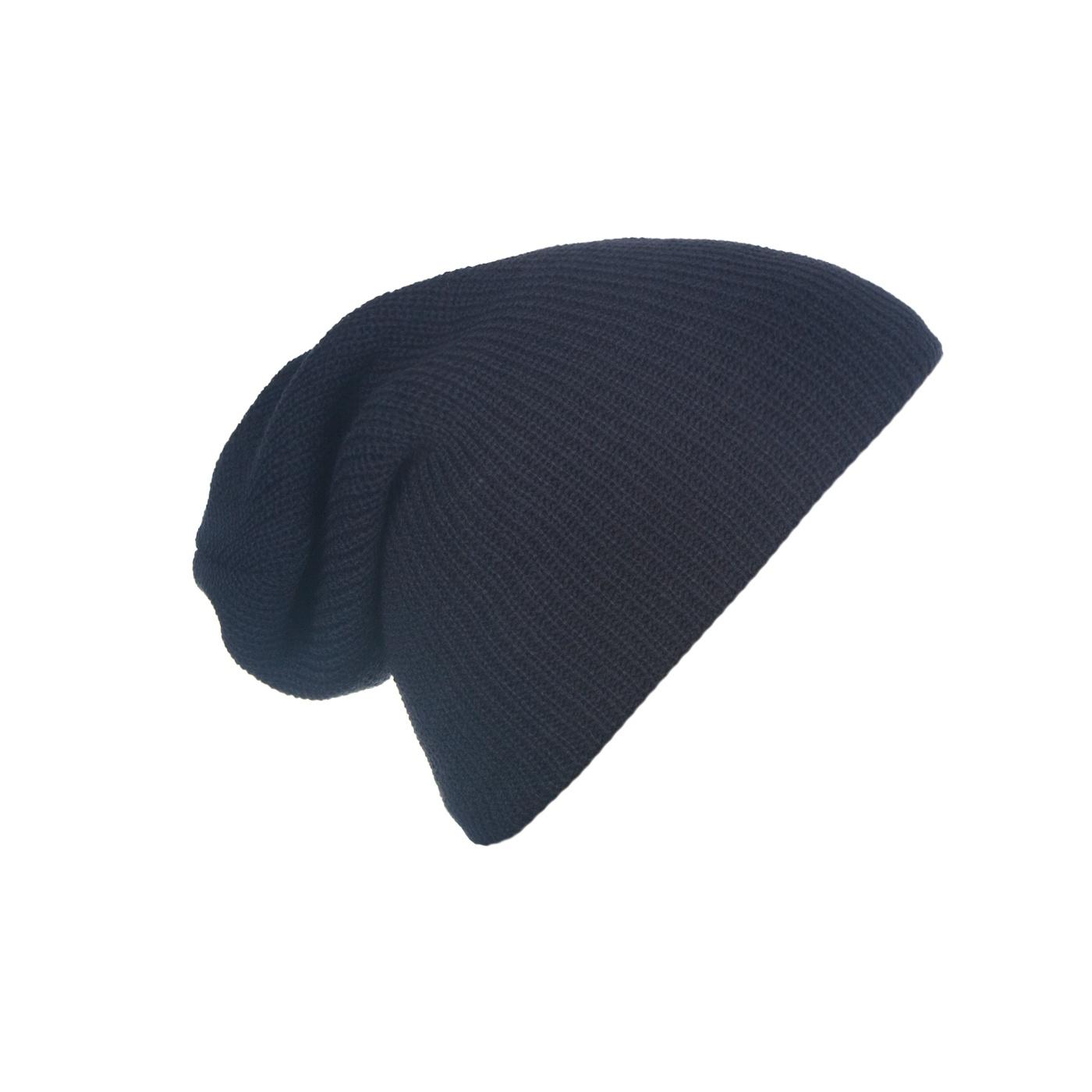 Męska czapka beanie w prążki 3w1 - granatowa