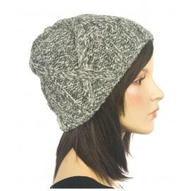 Ciepła czapka damska zimowa Hexa - szary melanż