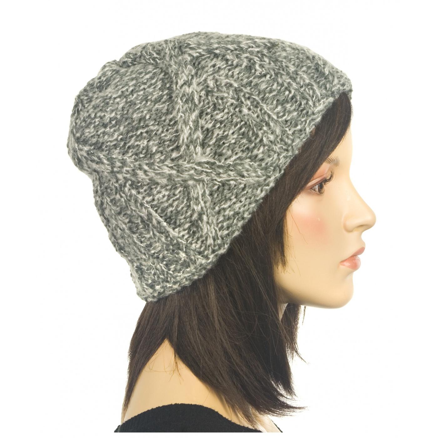 Ciepła czapka damska - szary melanż