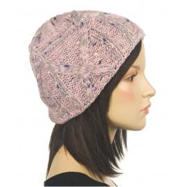 Ciepła czapka damska zimowa Hexa - popielato-różowy melanż