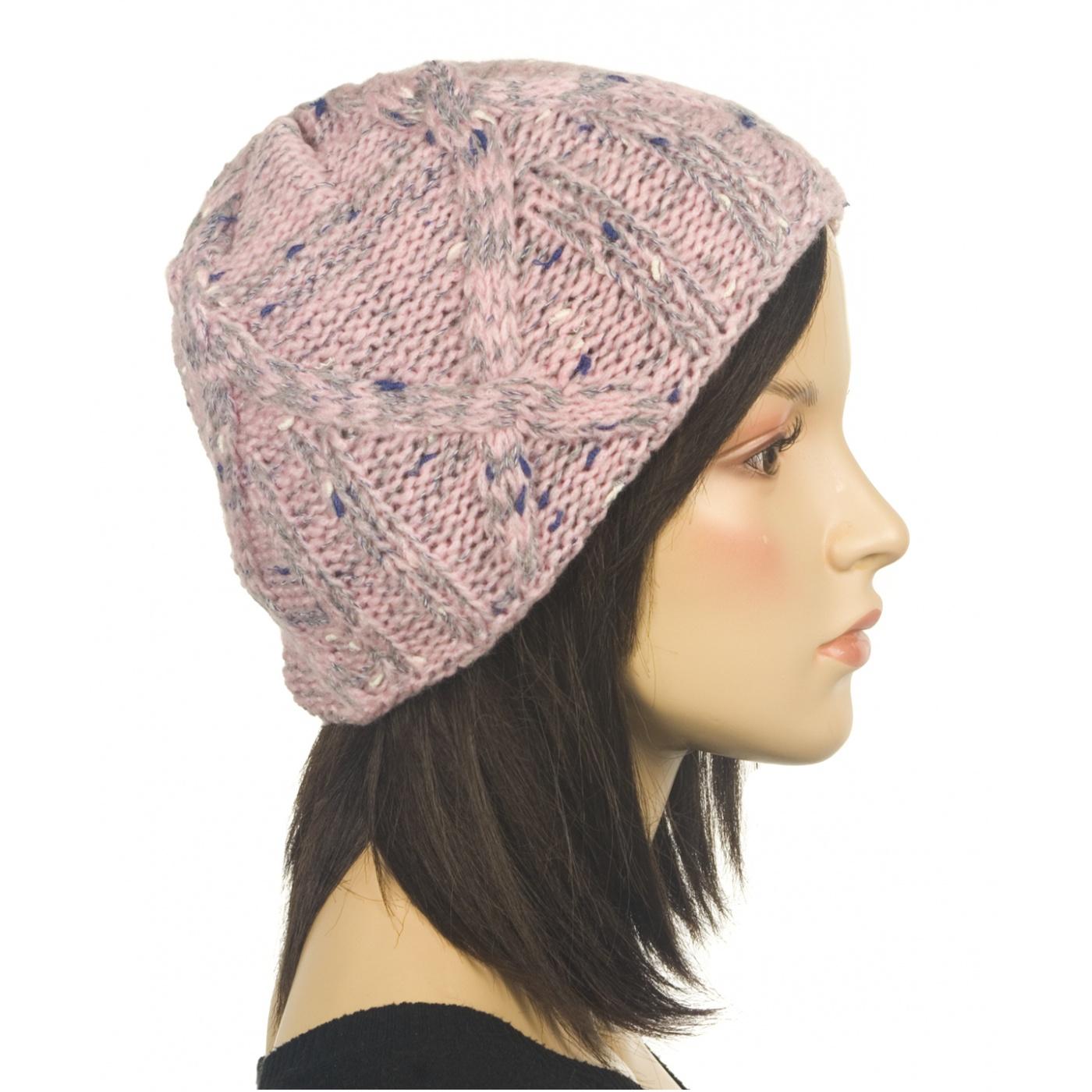 Ciepła czapka damska - popielato-różowy melanż