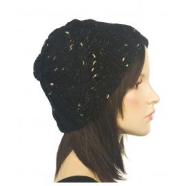 Ciepła czapka damska zimowa Hexa - czarna ze złotymi akcentami