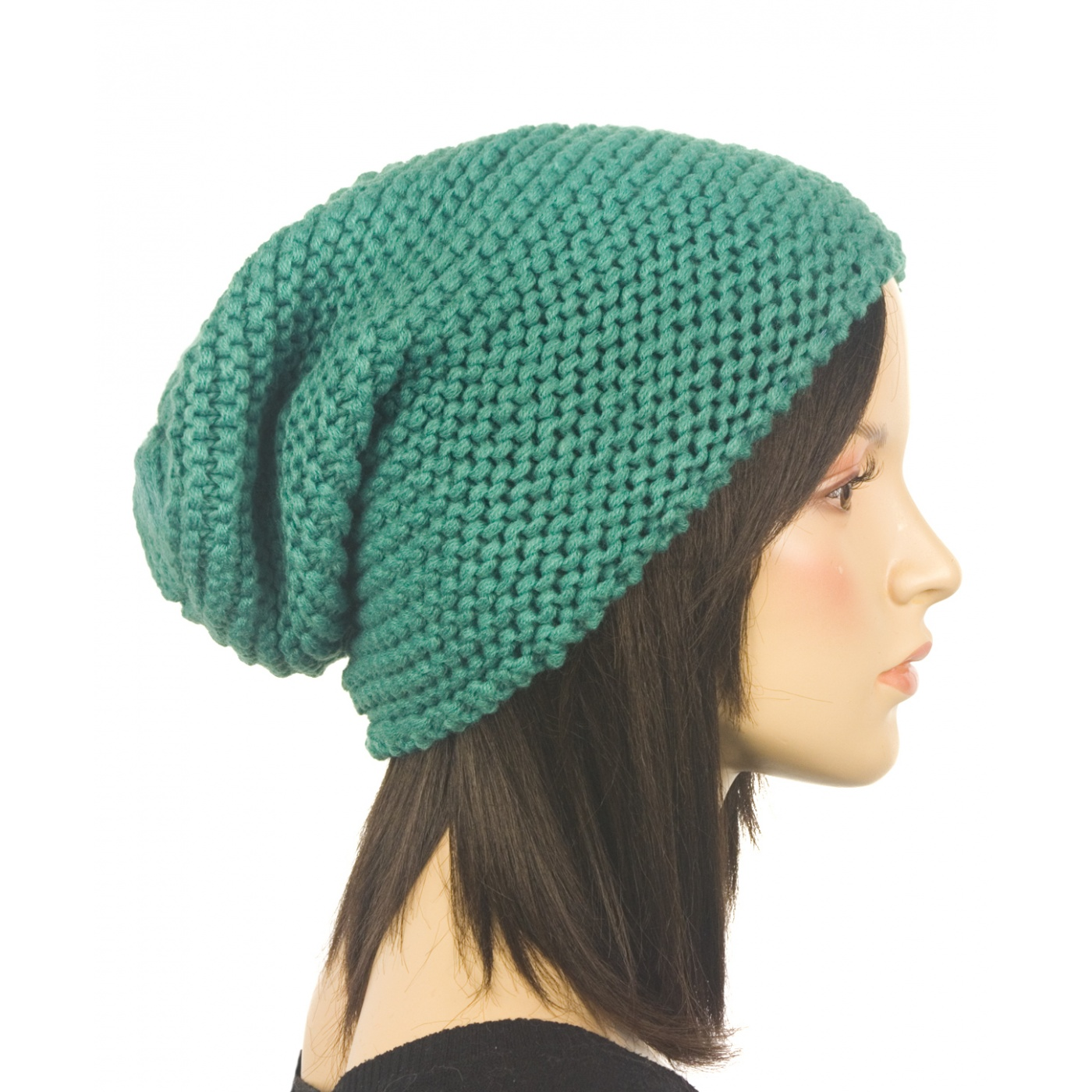 Czapka damska krasnal lewe oczko - miętowa zielona