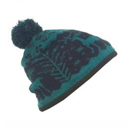 Czapka damska zimowa w jelonki - zielono-granatowa