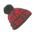 Czapka damska zimowa w jelonki - czerwony / grafitowy