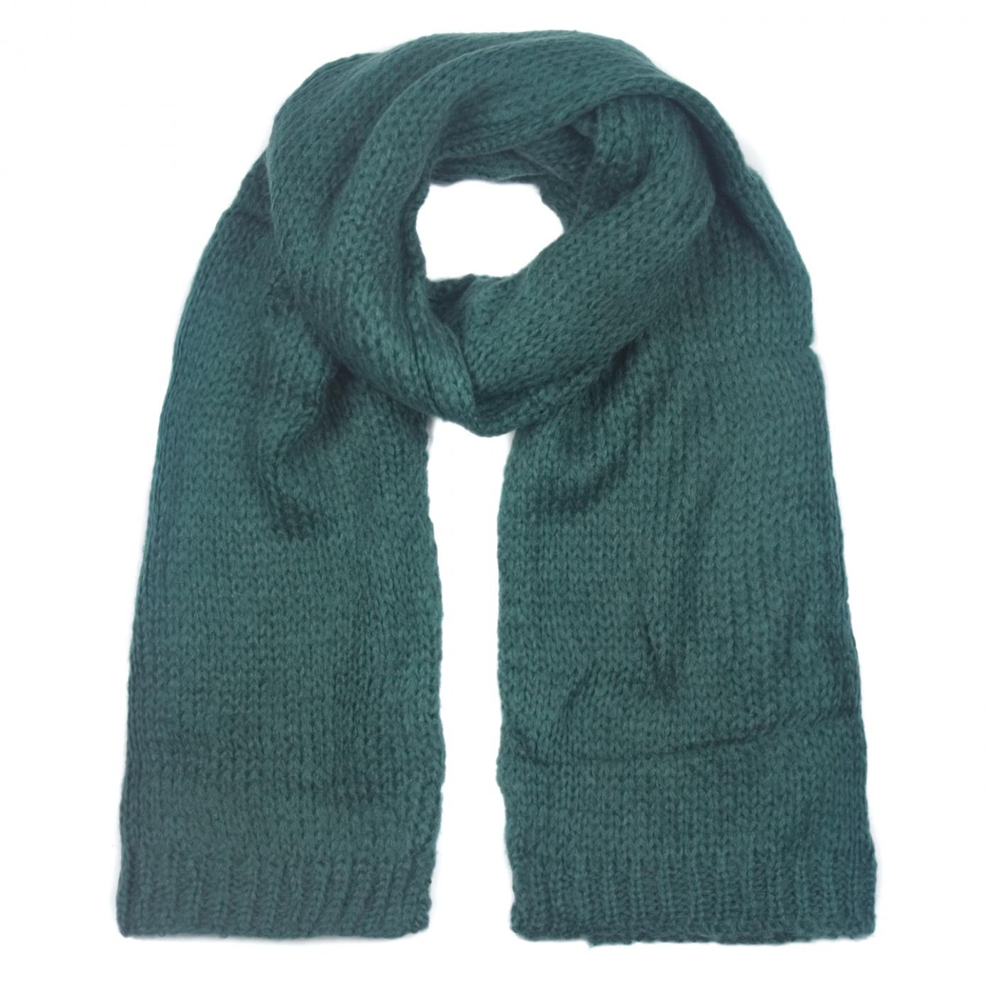 Zimowy damski szalik mohair - ciemnozielony