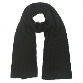 Zimowy damski szalik ażurowe wstawki - czarny