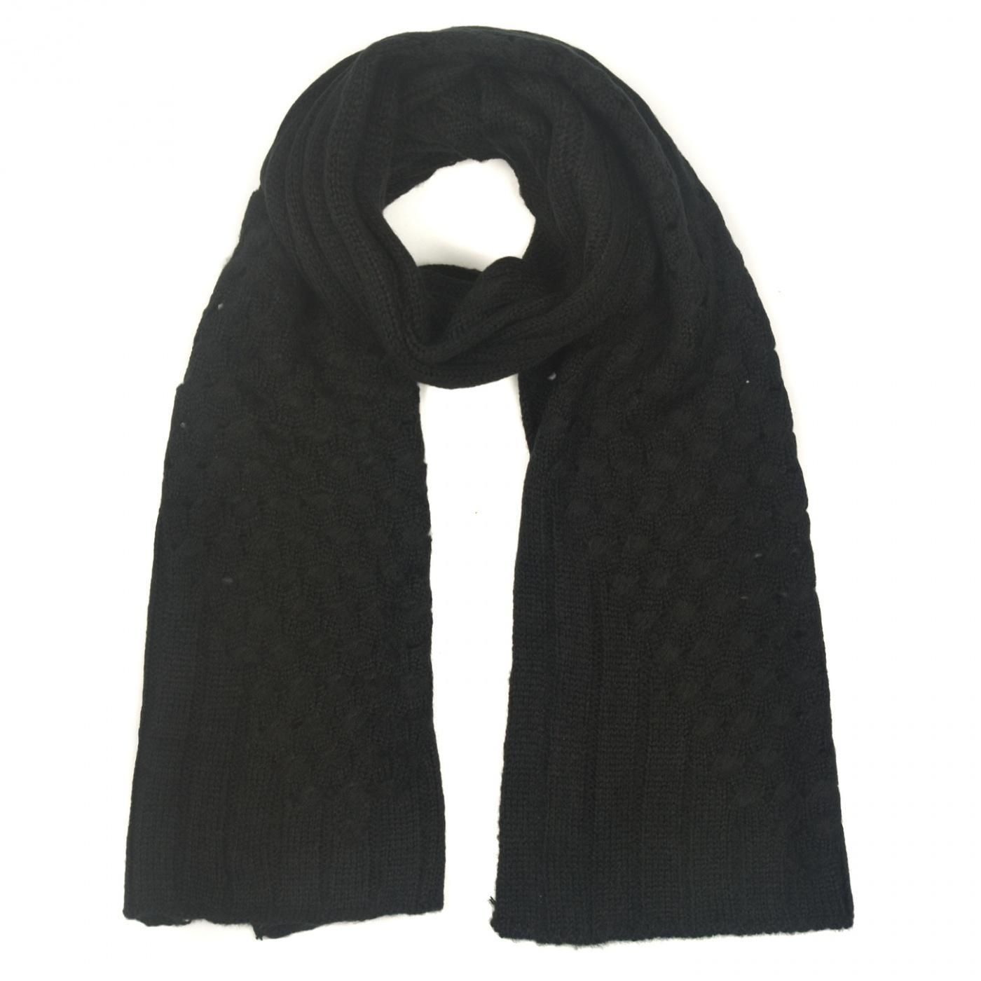 Zimowy damski szalik urowe wstawki - czarny
