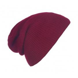 Męska czapka beanie w prążki 3w1 - bordowa