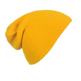 Męska czapka beanie w prążki 3w1 - żółta miodowa