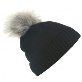 Damska czapka zimowa z wywinięciem i pomponem Tina - czarna