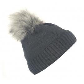 Damska czapka zimowa z wywinięciem i pomponem Tina - gafitowa szara