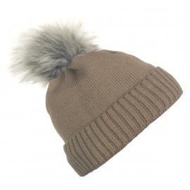 Damska czapka zimowa z wywinięciem i pomponem Tina - cappuccino beżowa