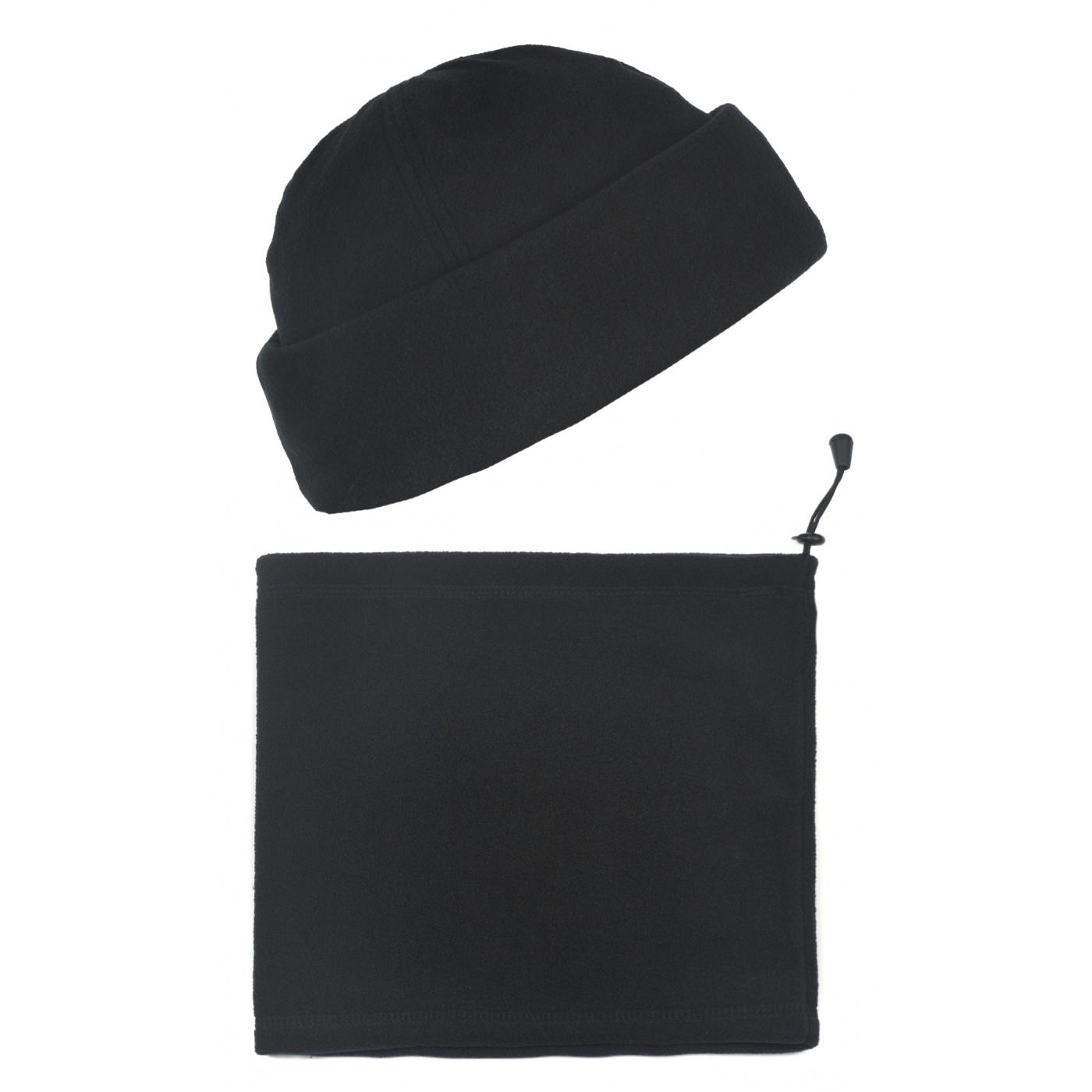 Męski komplet polarowy suprafleece czapka zimowa i szalik komin : czarny