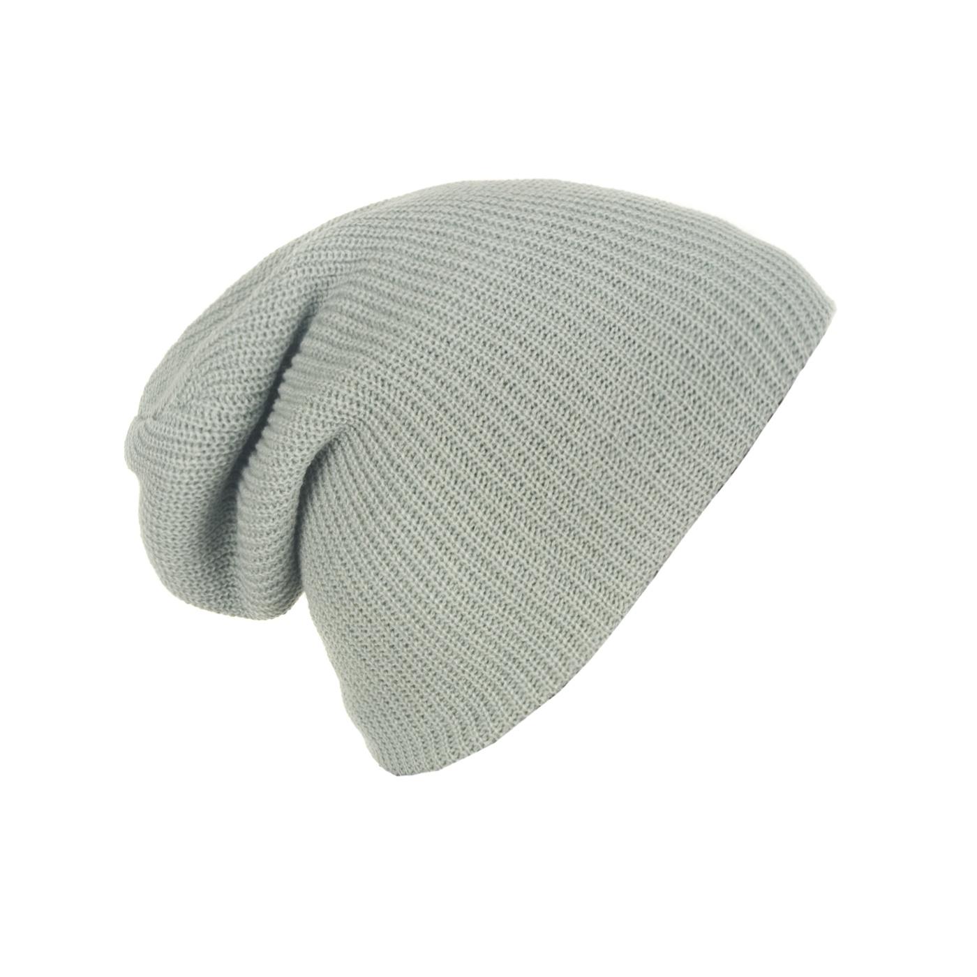 Męska czapka beanie w prążki 3w1 - popielata szara