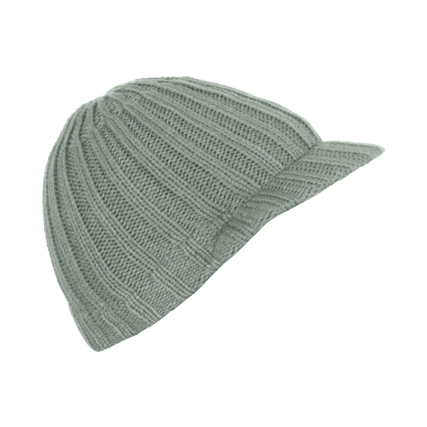 Męska czapka zimowa z daszkiem – szara w prążki