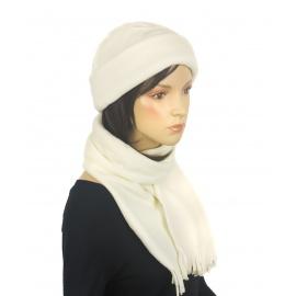 Damski komplet zimowy z polaru czapka i szalik - kremowy ecru