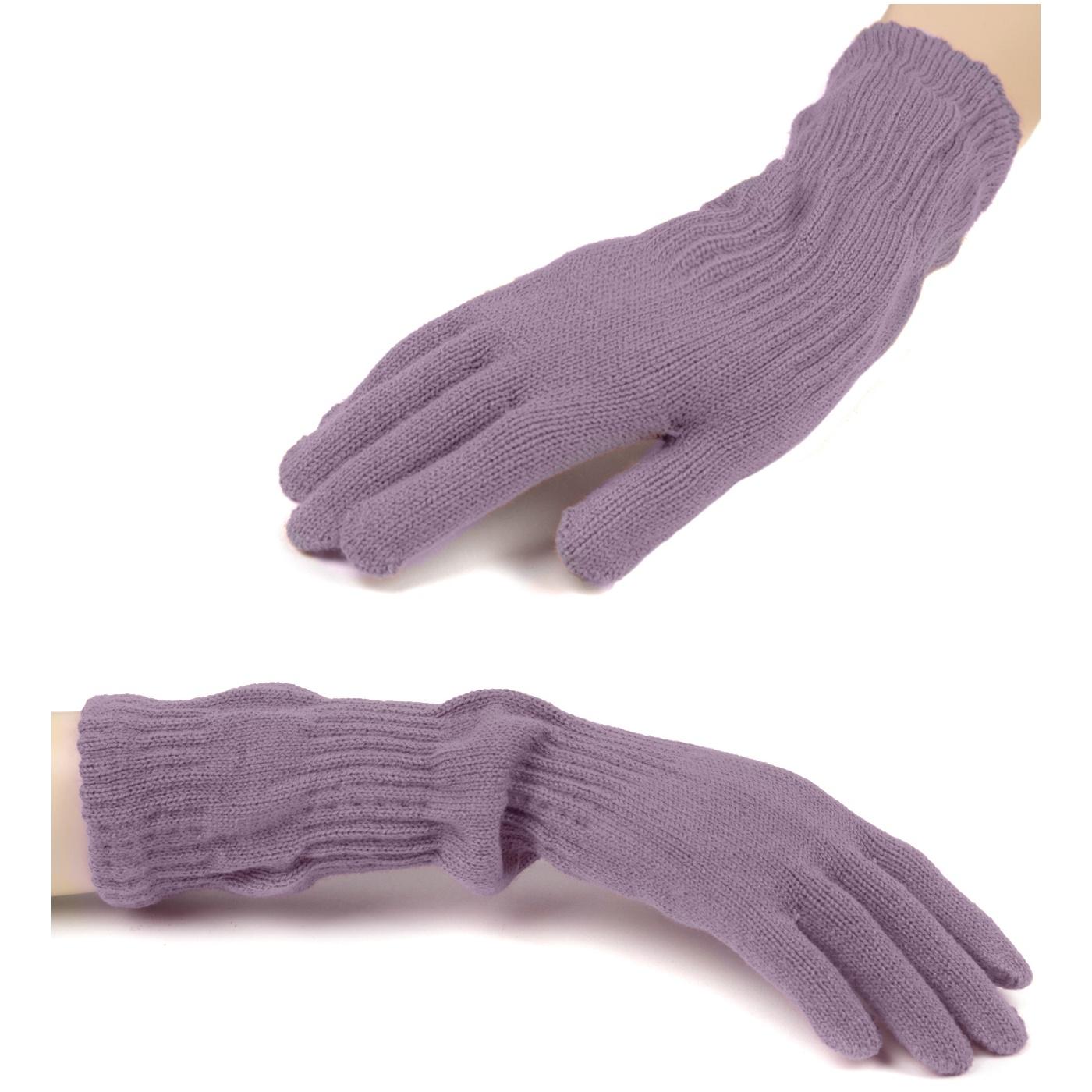 Damskie długie rękawiczki - wrzosowe
