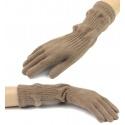Damskie długie rękawiczki - beżowe cappuccino (2)