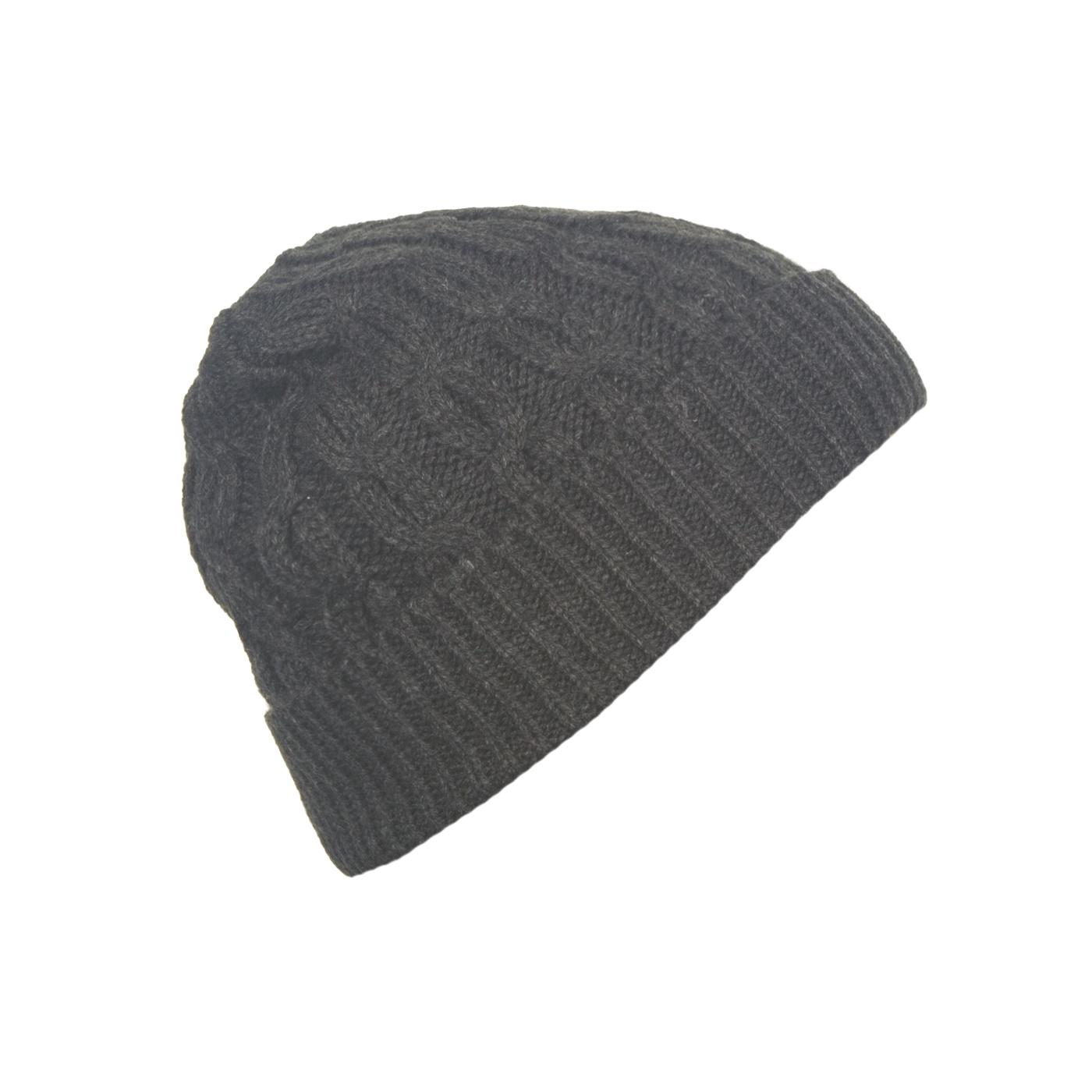 Męska czapka zimowa z wywinięciem – grafitowa