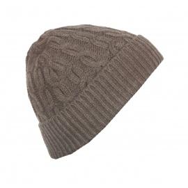 Męska czapka zimowa z wywinięciem – brązowa