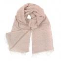 Zimowy damski szalik w romby - brudny róż/beż